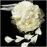 髪飾り(HA-001)  上品なオフホワイトの大花・ゴールドレース髪飾り