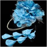 髪飾り(HA-002) ラメ入りスカイブルーの大花・シルバーレース髪飾り