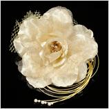 髪飾り(HA-004) 淡いベージュの大花ゴールドのレース髪飾り