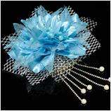 髪飾り(HA-005) 鮮やかな水色の花シルバーチェーン髪飾り