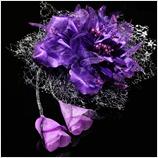 髪飾り(HA-008) 深みのある濃い紫の花 シルバーブラック系レースの髪飾り
