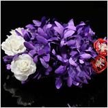 髪飾り(HA-010) 深みのある鮮やかな紫色の花 白のミニ花 赤水引の髪飾り